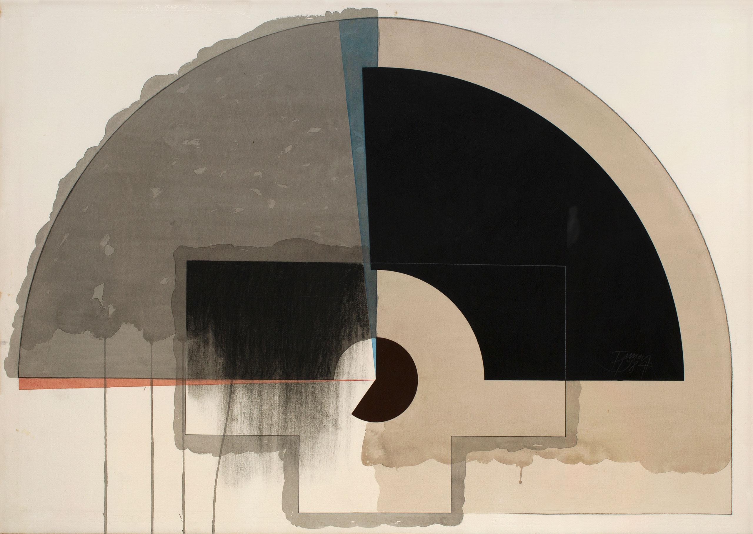 Pintura de Tuneu, de 1980. Da série Considerações sobre um relógio de sol. Técnica mista